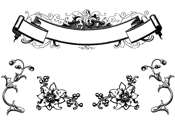 Victorian Filigree Line Drawing