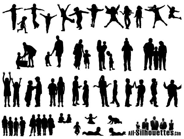 free vector children kids teens silhouettes 123freevectors rh 123freevectors com child silhouette vector head child sitting silhouette vector