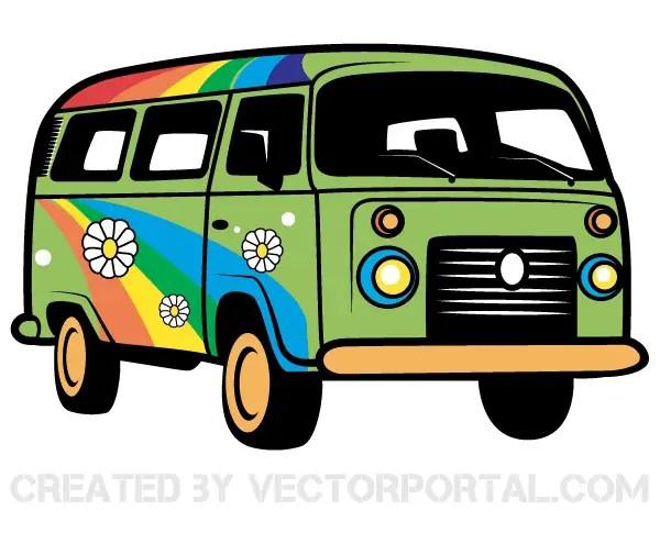 hippie van vector art 123freevectors rh 123freevectors com