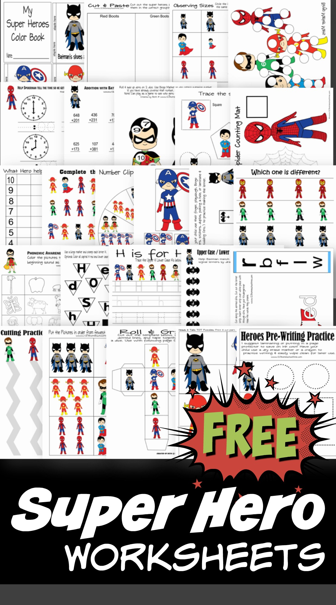Free Superhero Worksheets