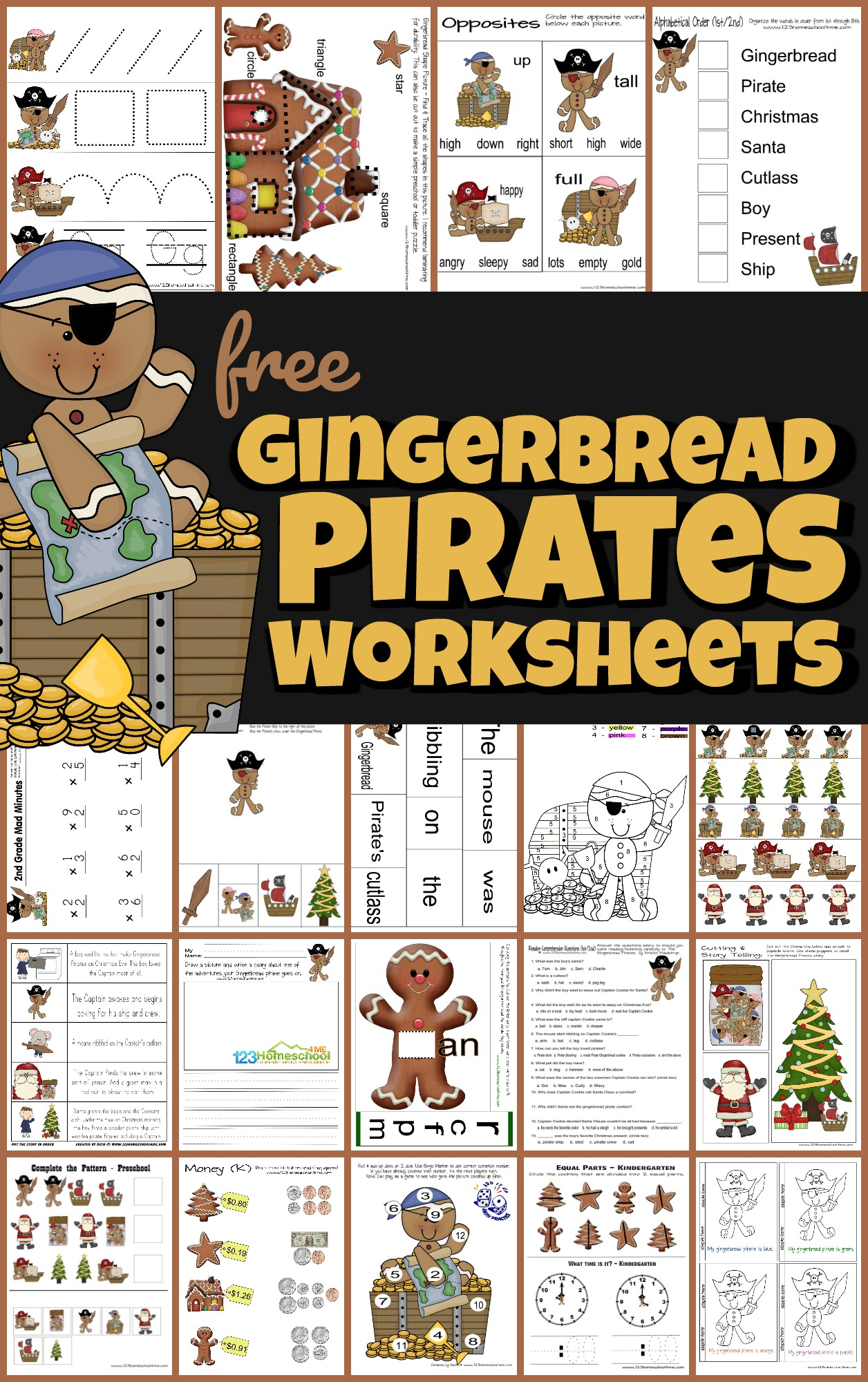 Free Gingerbread Pirates Christmas Worksheets