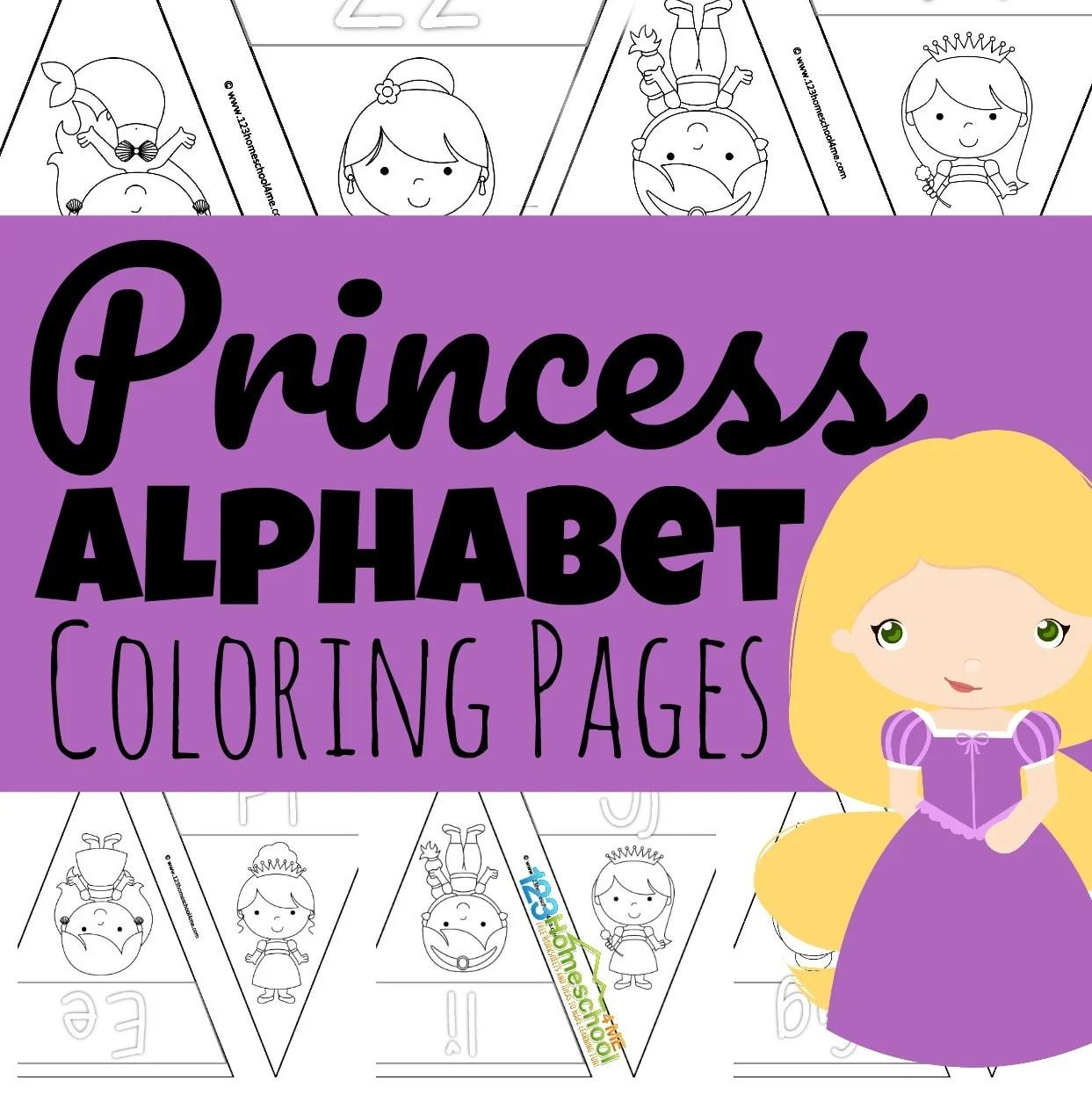 Disney Princess Alphabet Coloring Pages Pennants