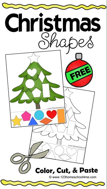 Christmas Shapes Cut Amp Paste Worksheets