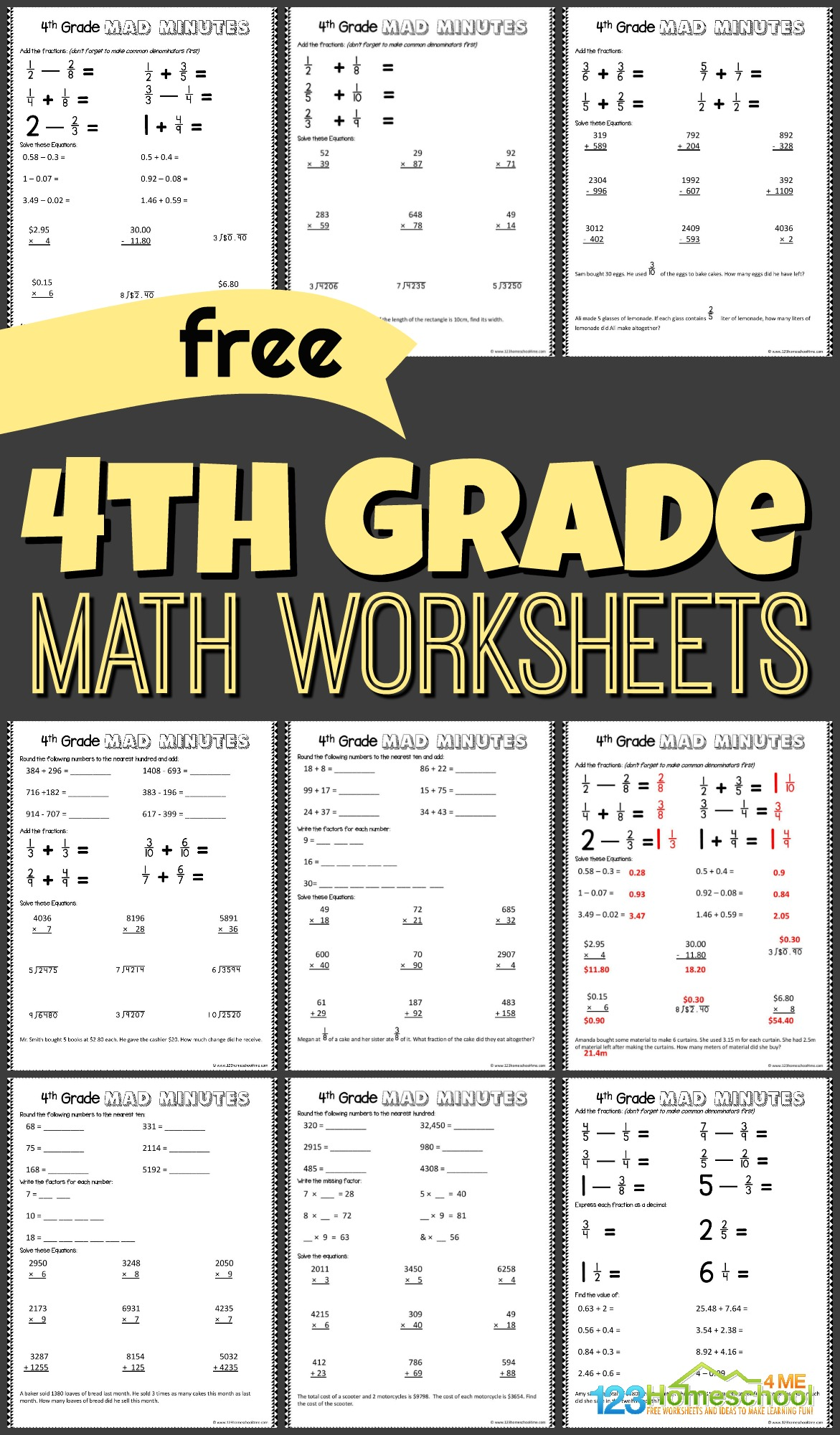 Free 4th Grade Math Worksheets