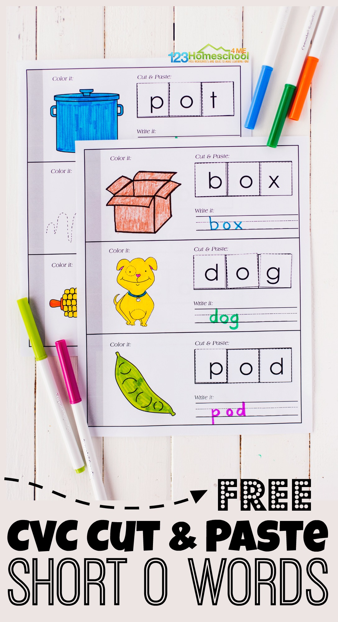 Free Short O Words Cvc Cut And Paste Printable