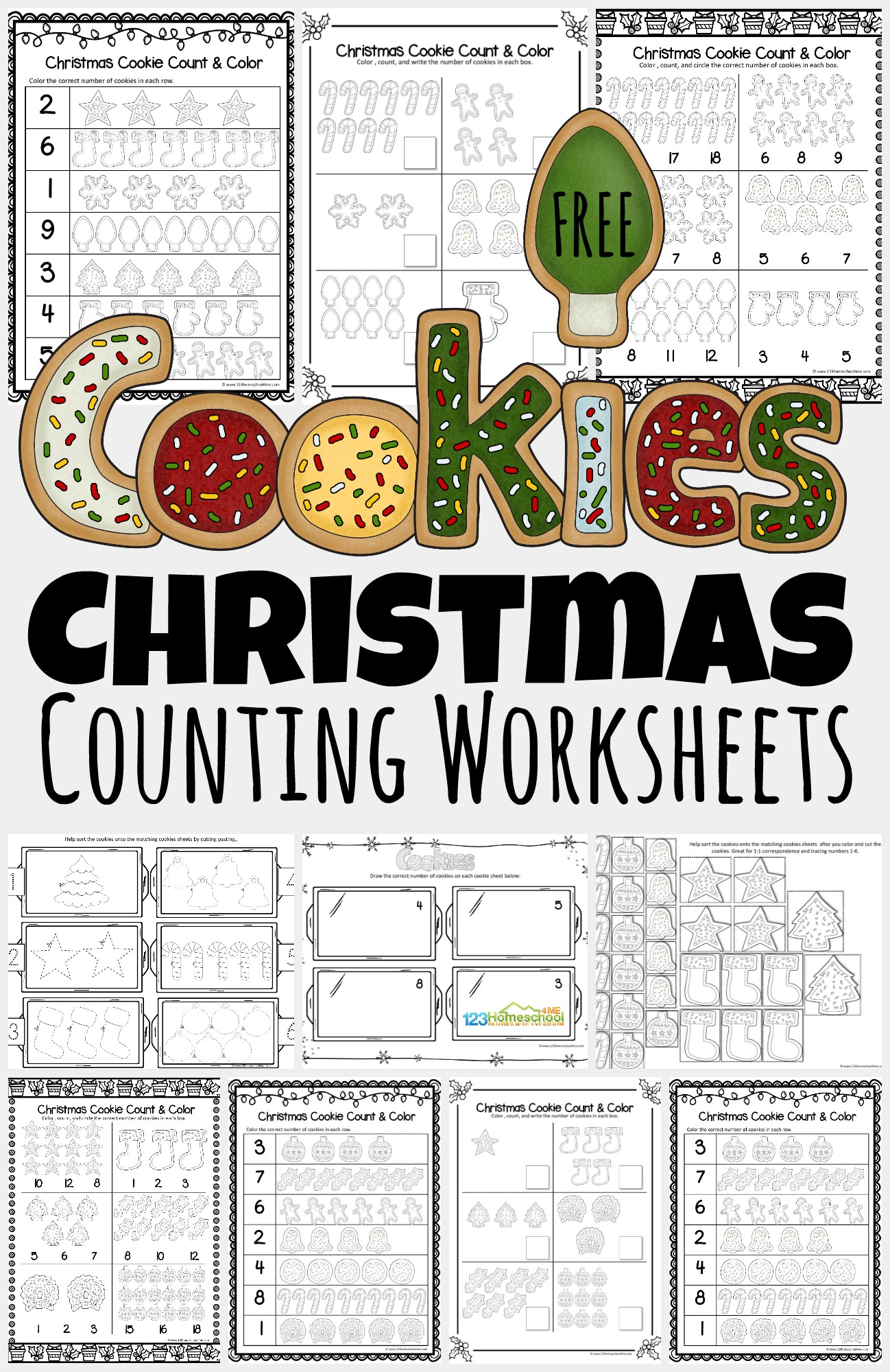 Free Christmas Cookies Counting Worksheets