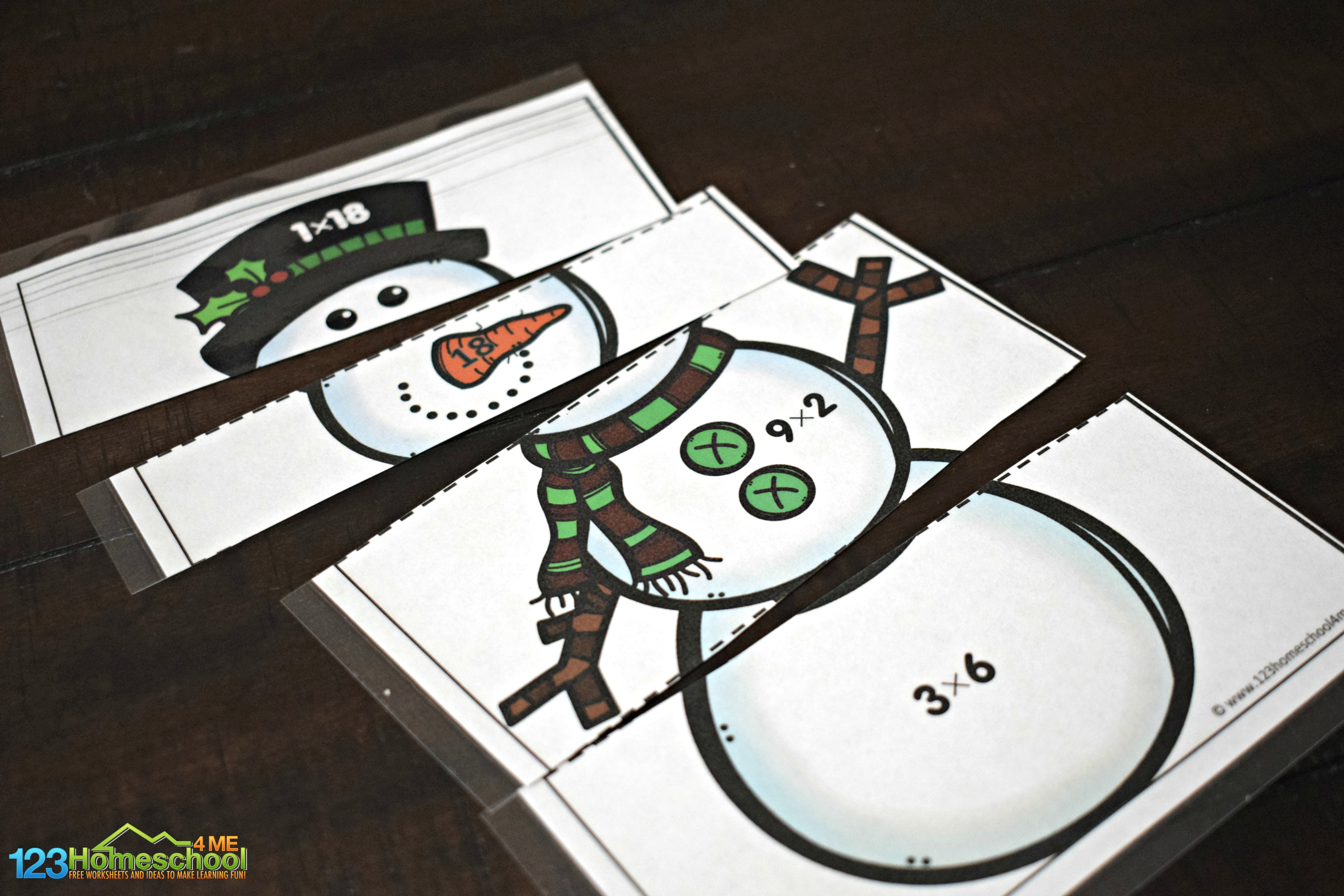 Free Snowman Multiplication Puzzles