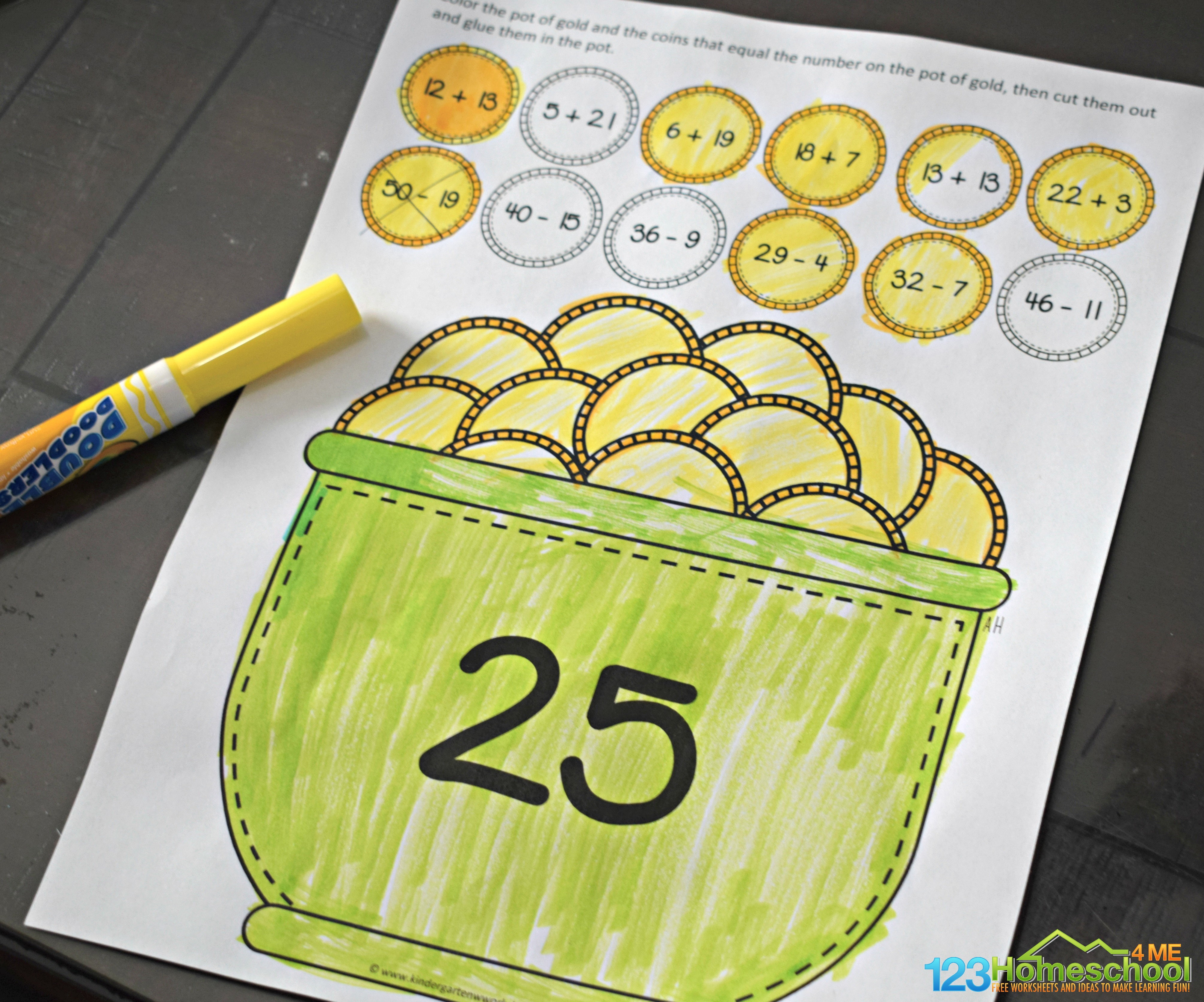 Pot Of Gold Math Craft For 1st And 2nd Grade