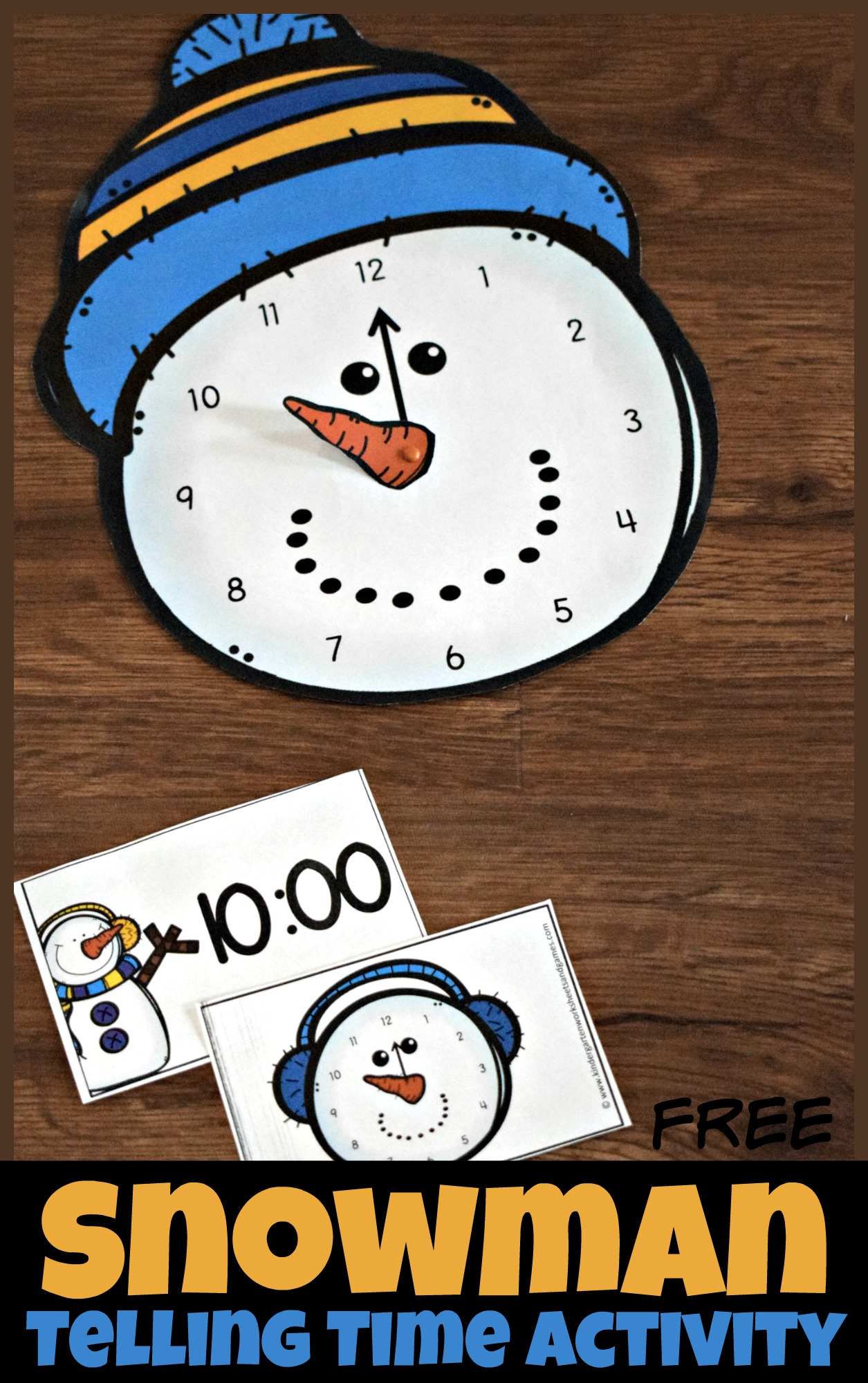 Free Snowman Clock Activity