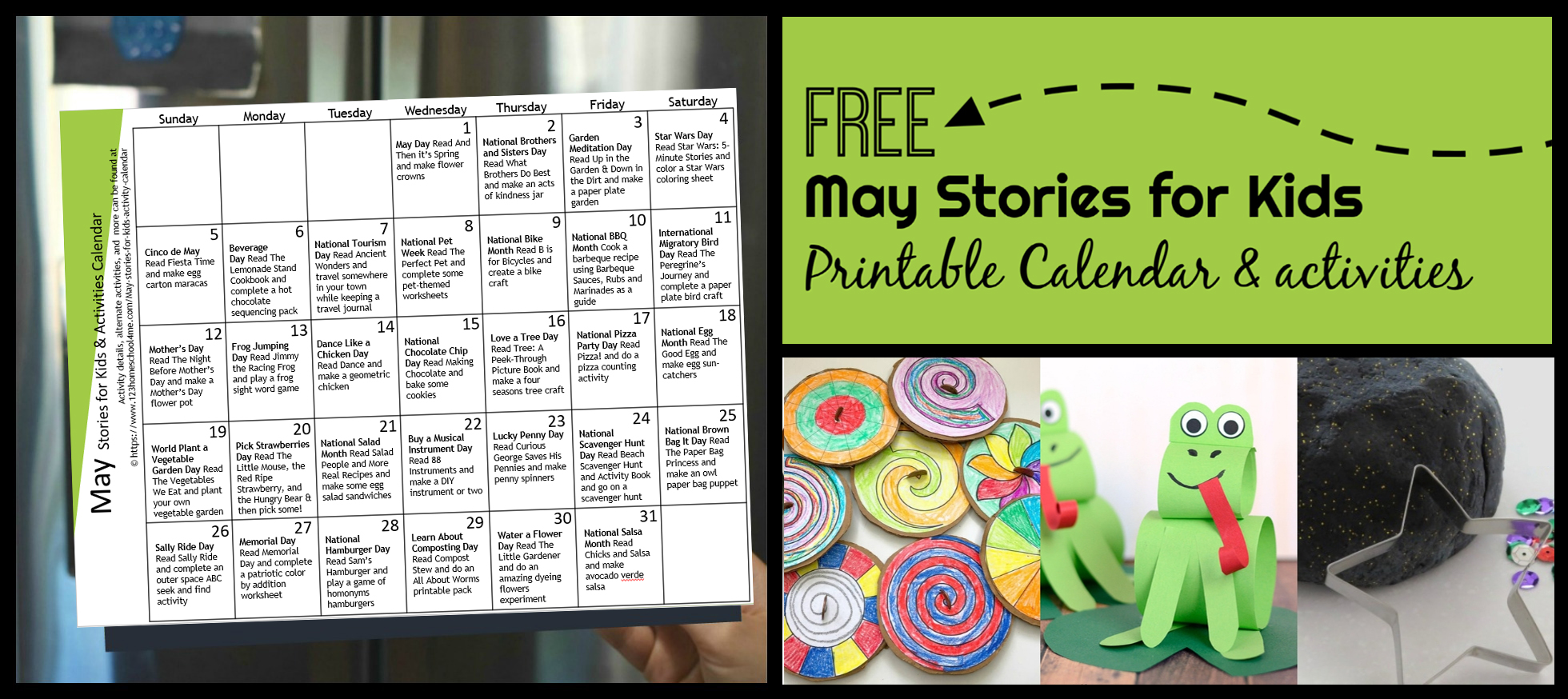 Free May Activity Calendar With Stories For Kids