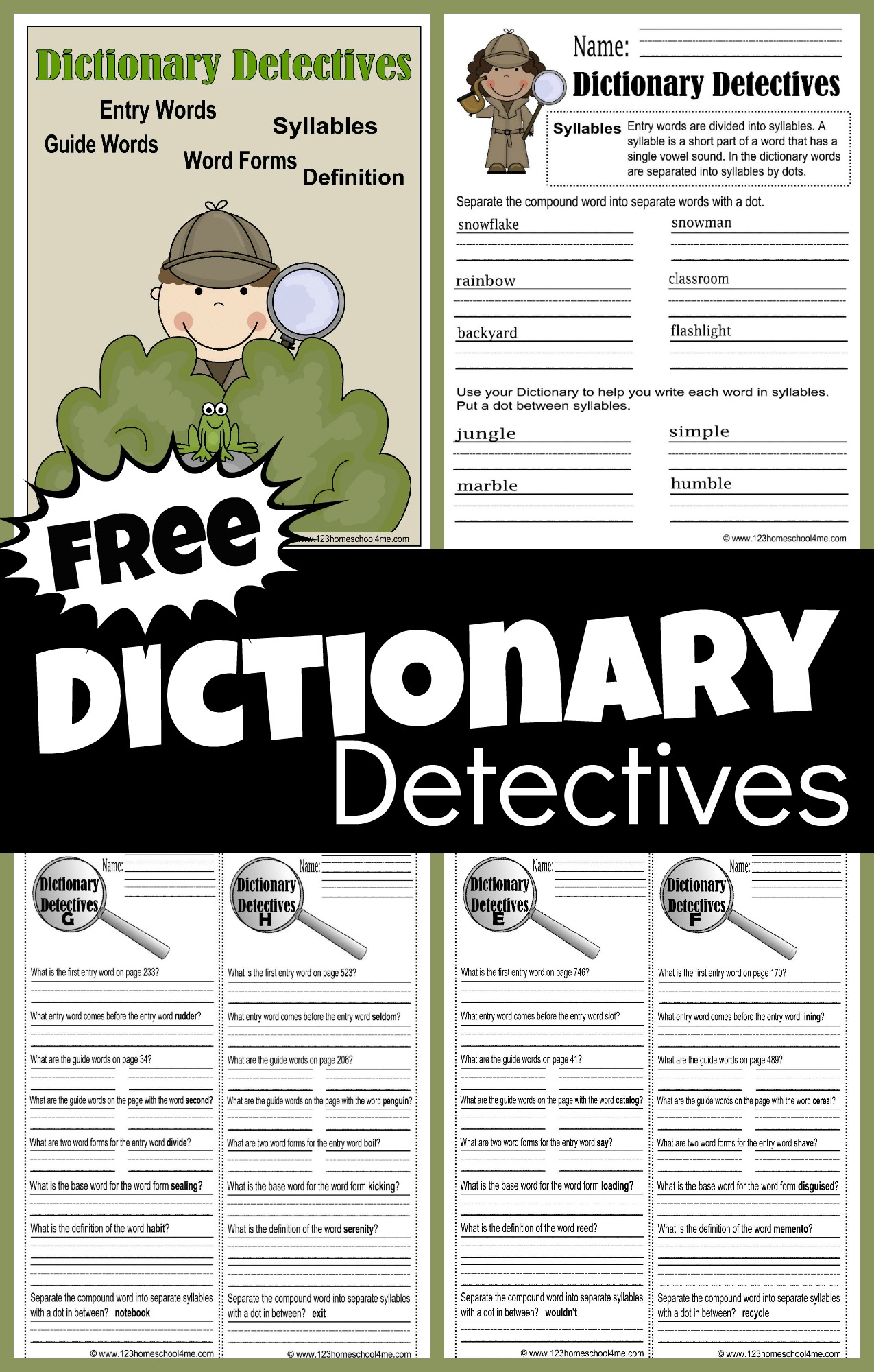 Free Dictionary Detective Worksheets For Kids