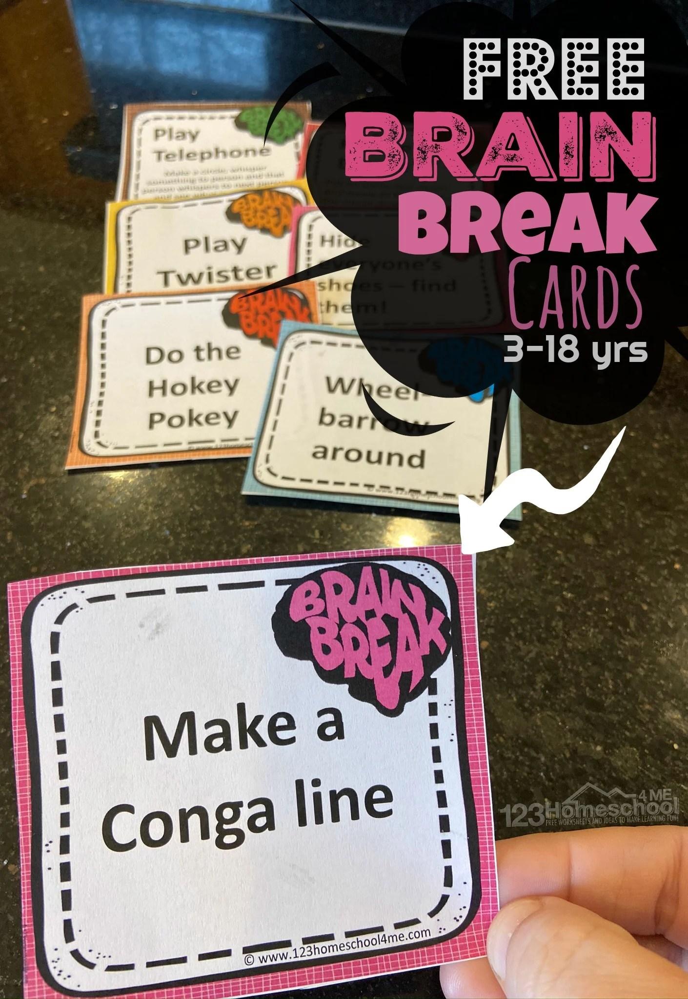 Free Printable Brain Breaks For Kids