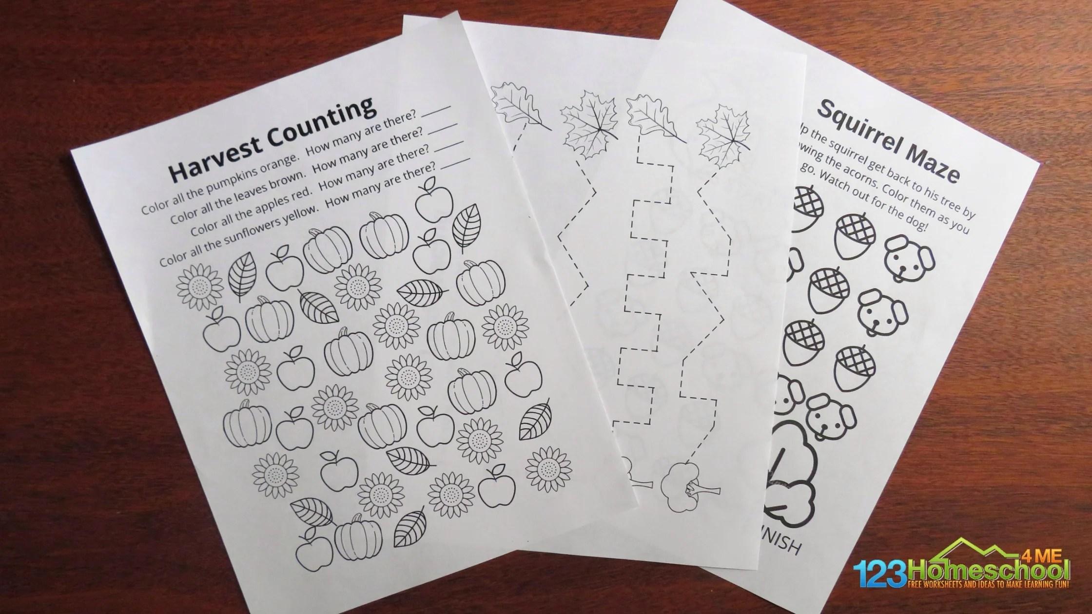 Free Fall Worksheets For Preschoolers