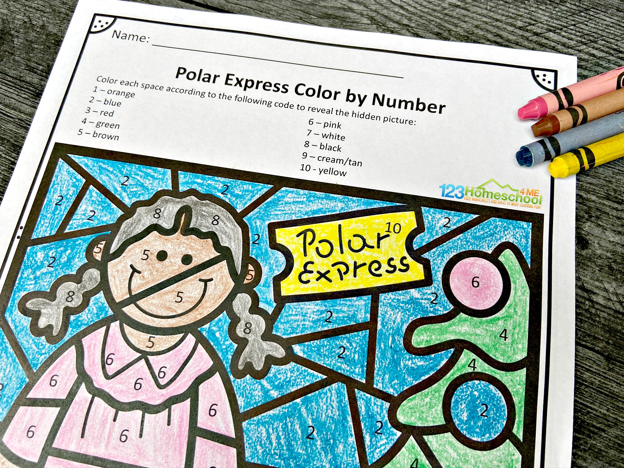Free Polar Express Color By Number Worksheets