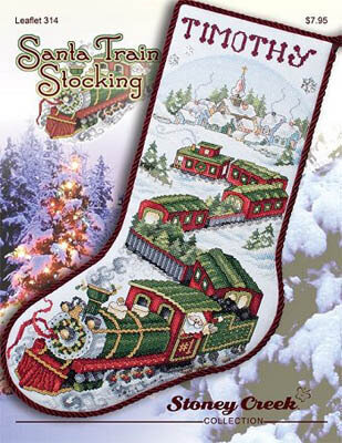 Stoney Creek Santa Train Stocking Cross Stitch Pattern