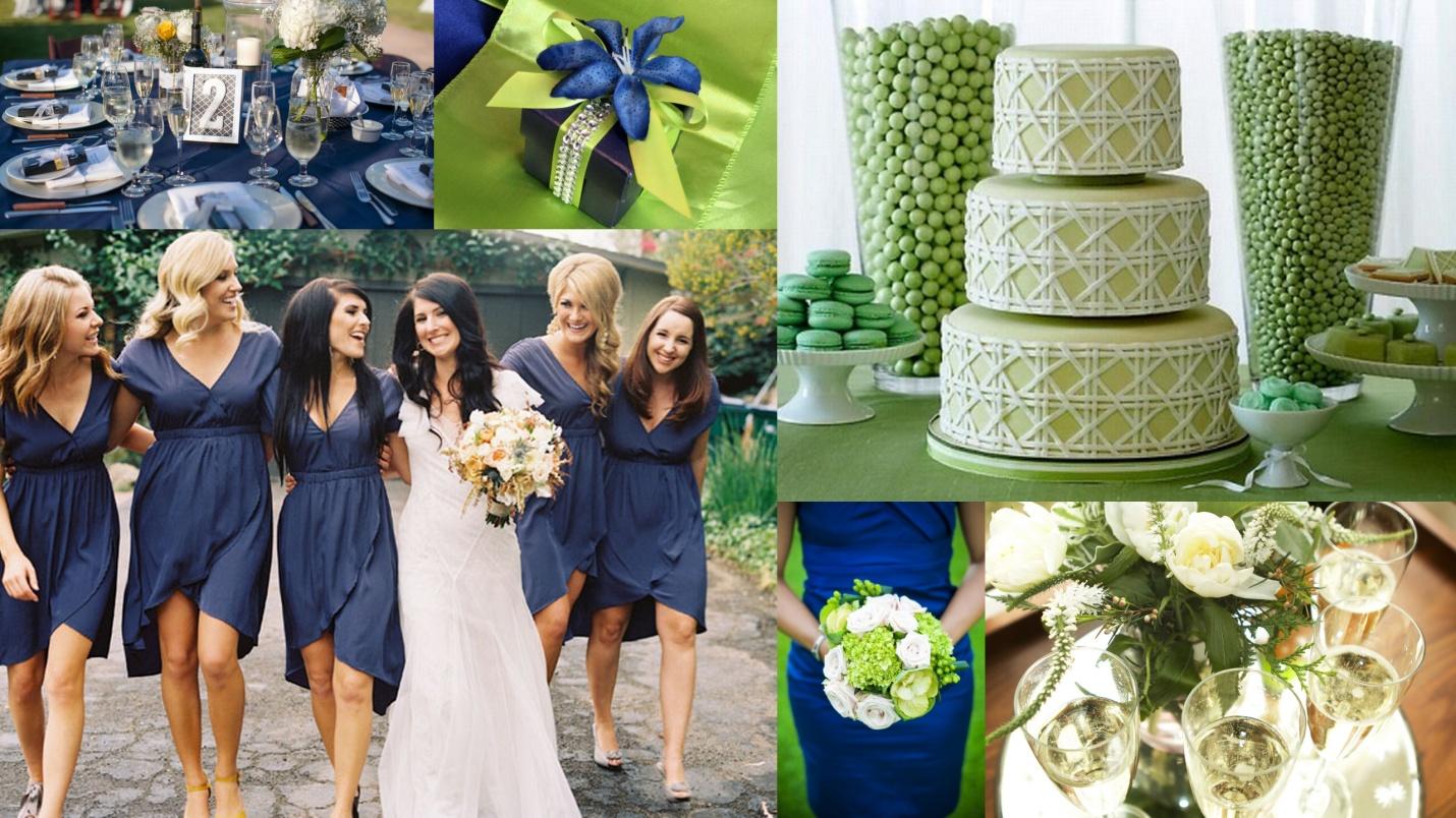 Royal Blue Kelly Green Color Theme Wedding
