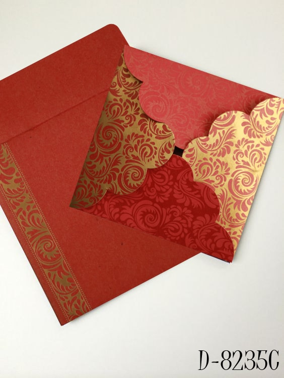 Red Shimmery Floral Theme Wedding Invitations- 123WeddingCards