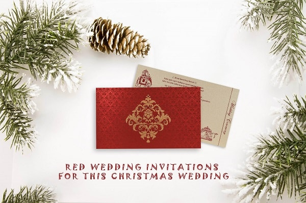 123 Wedding Invitations: Christmas Inspired Red Wedding Invitations