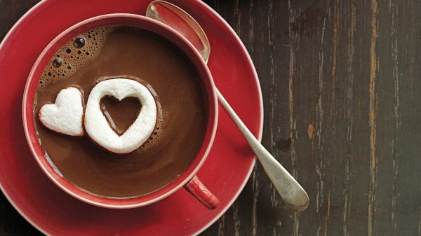 Hot Chocolate with Marshmallow Hearts - 123WeddingCards