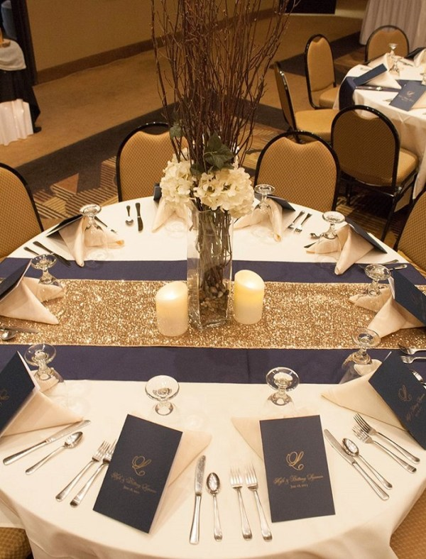 Burgundy table runner with golden table mats