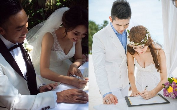 Couple's signing their marriage certificate - 123WeddingCards
