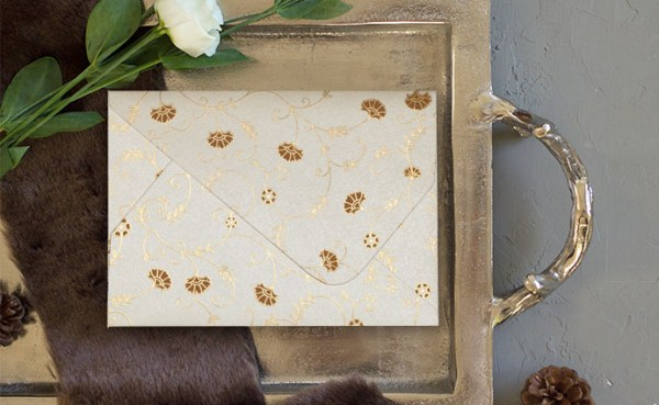 IVORY SHIMMERY FLORAL THEMED - SCREEN PRINTED WEDDING INVITATIONS D-8248B