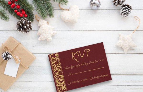 Christmas Theme RSVP Cards - 123WeddingCards
