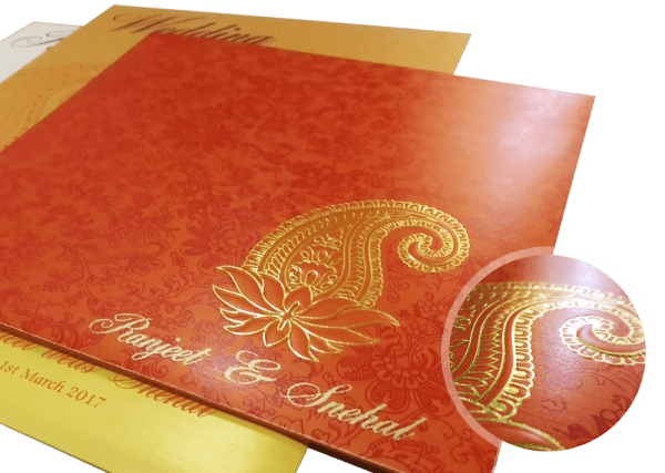 paisley theme wedding invitation - 123WeddingCards