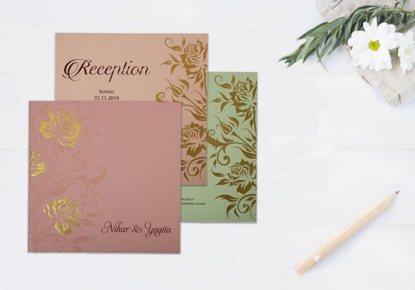 PURPLE MATTE FLORAL THEMED - EMBOSSED WEDDING INVITATION D-1818 from 123WeddingCards