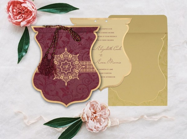 PURPLE SHIMMERY FLORAL THEMED - SCREEN PRINTED WEDDING CARD D-8229K from 123WeddingCards