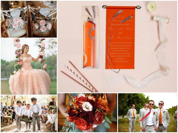 Color Palettes Combinations - 2018 - Rose, Grey, Burgundy, Orange and Peach