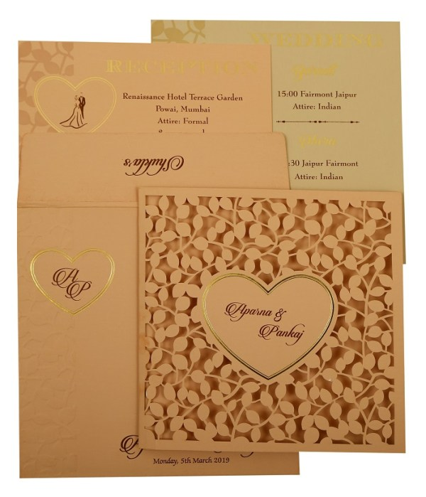 Heart Shape Valentine Theme Wedding Invitation- 123WeddingCards