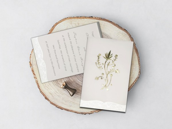 OFF-WHITE FLORAL THEMED - FOIL STAMPED WEDDING CARD D-1495 - 123WeddingCards