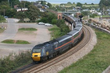 An on hire GNER set rounds 'the rock' at Dawlish Warren (c) Dave Mulligan