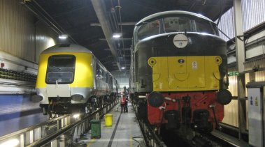 41001 seen next to D8 (44008) inside the HST shed at Derby Etches Park