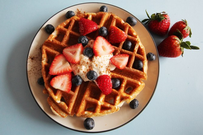 protein flax waffles