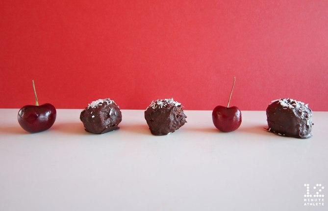 Dark chocolate cherry coconut truffles