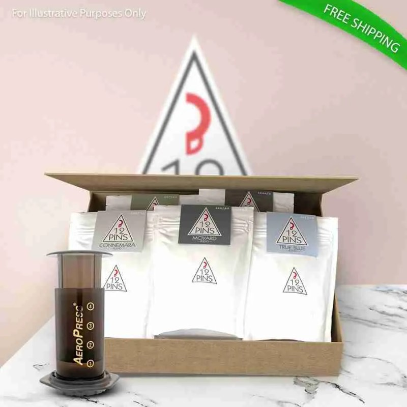 12 Pins Coffee Gift Pack with Aeropress