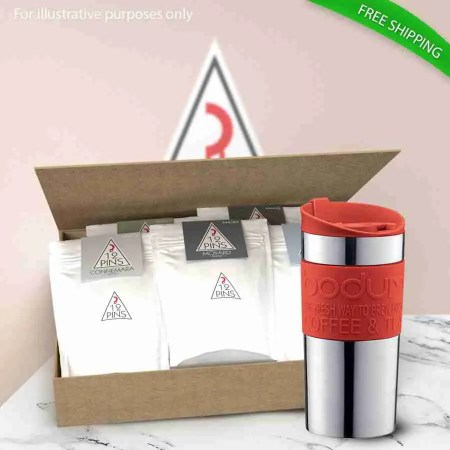 12 Pins Coffee Gift Pack with thermal travel cup