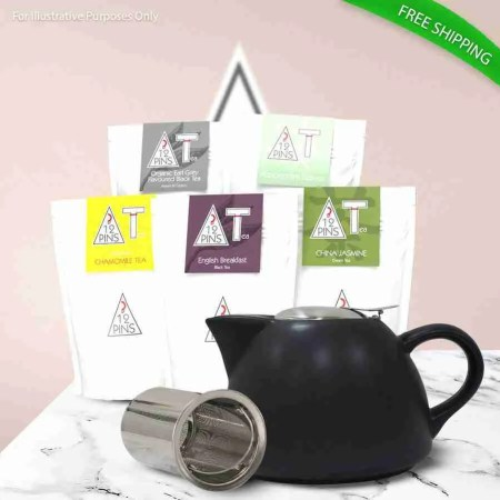 12 pins loose leaf tea variety gift pack with an infuser tea pot