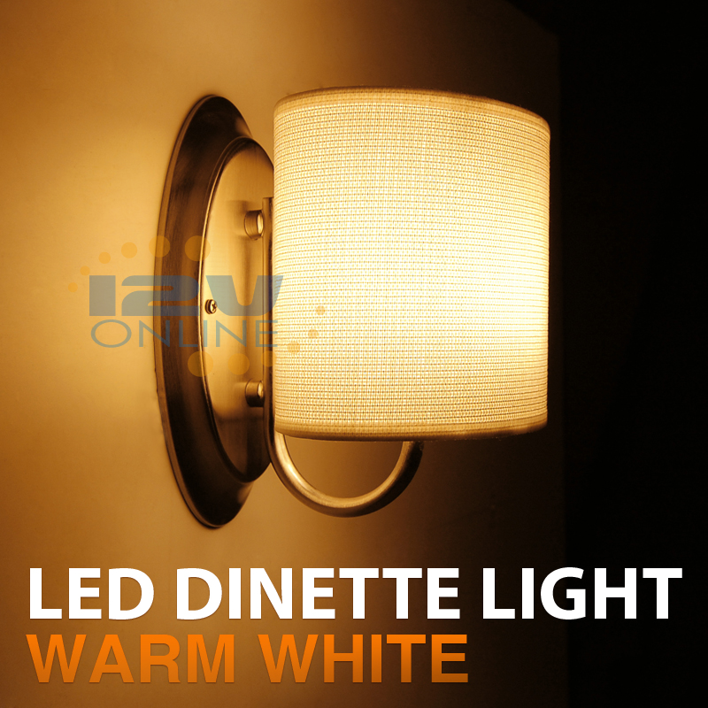 12V LED White Fabric Shade Wall Sconce RV AUTO Boat Porch ... on Led Interior Wall Sconces id=25476