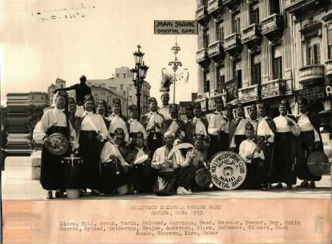 Mahi Drummer Dr. Louis Novak and the Hollywood Shrine Club Oriental Band performing in Havana, Cuba in 1953.