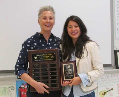 Nina Duval, Chair of the Fine Arts Academy at Miami Beach Senior High School, and Hillary Zhuner, winner of the first annual Carole Taran Award for Excellence in Performing Arts.