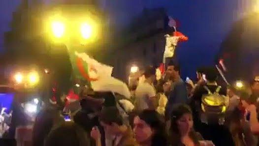 Des algériens se font frapper après avoir sorti leur drapeau suite à la victoire des Bleus