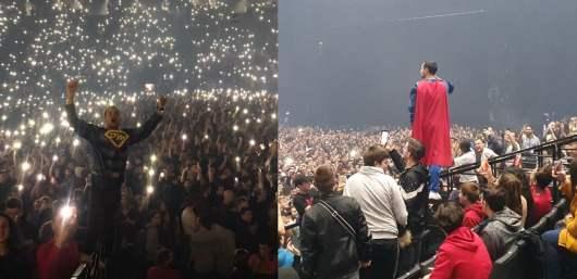 Vald : Le super héros PensionMan ambiance le public à son concert à l'Accorhotels Arena