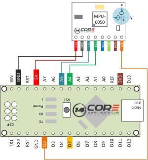 Wiring the MPU 6050 Sensor Mems Accelerometer GYRO