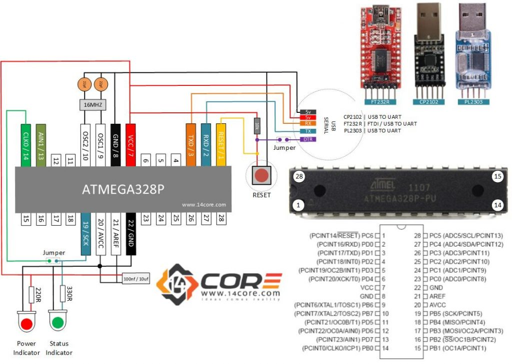 Wiring A Stand Alone Atmega328p Cmos 8bit Microcontroller
