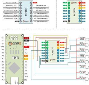 Wiring the PCF8574AP 8bit Bidirectional IO Expander Driven