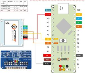 Wiring OLED 128×64 13 inch Display on SPI, i2C | 14core