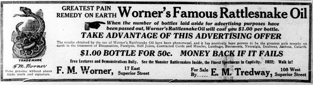 Snake oil ad from November 1914 Duluth Hearald